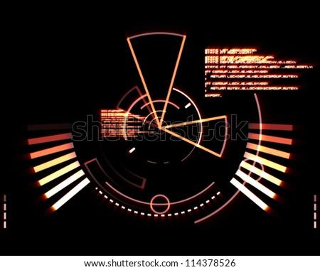 Abstract orange radar against black background - stock photo