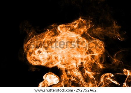 Abstract orange smoke on black background, orange background,orange ink background