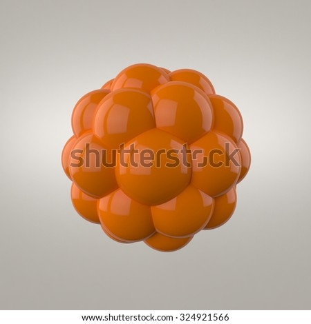 Abstract orange spheres with reflective surface