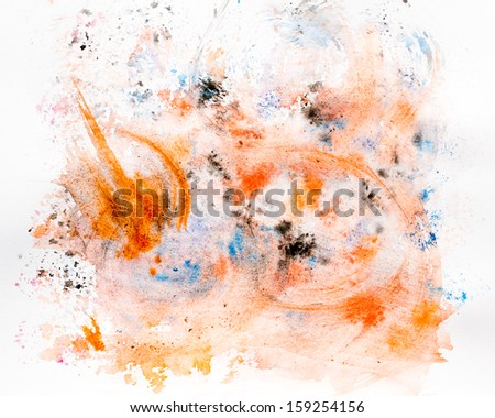 Abstract orange watercolor stains useful for design. - stock photo