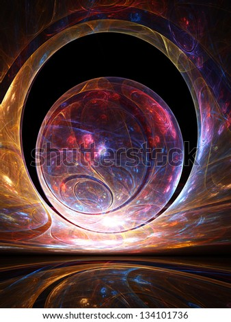 Abstract orb of intricate glowing shapes, framed by a giant arch against a black sky - stock photo