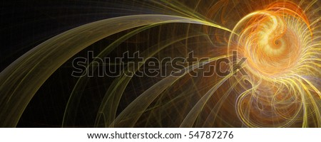 Abstract orbiting sun on a black wide background - stock photo