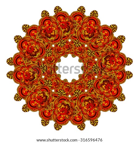 Abstract ornament in circle. Ornate mandala. Decorative card with ethnic ornament. Round ornament pattern. Ethnic floral circle ornament. - stock photo