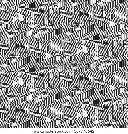 Abstract ornate fantasy geometric textured tangled cityscape background. Seamless pattern.