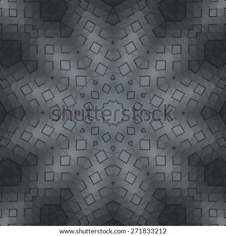 Abstract ornate radial pattern made of black surface - stock photo