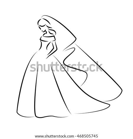 Abstract Outline Illustration Young Elegant Bride Stock Illustration 468505745 - Shutterstock