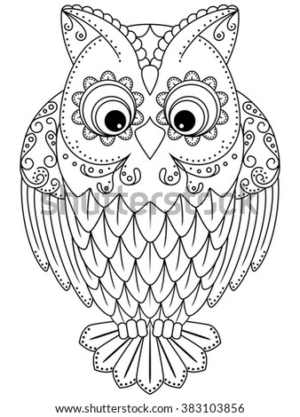 Abstract outline of big owl, cartoon illustration isolated on a white background - stock photo