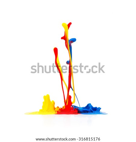 abstract paint splash on white background - stock photo