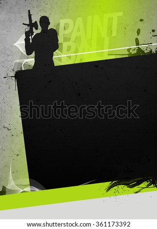 Abstract paintball or airsoft game invitation advert background with empty space. The character is a 3D rendered model, no real person.