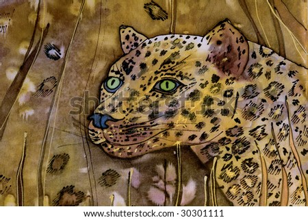 Abstract painted africa background on the silk with leopard. Art is created and painted by photographer. - stock photo