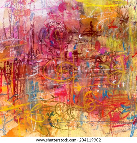 Abstract painted background in yellow and purple colors, soft pastels and watercolor