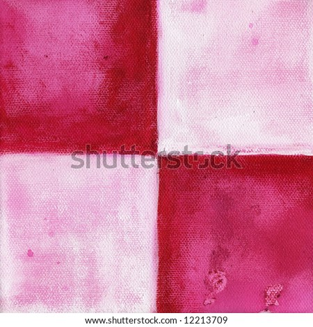 Abstract painted background with 4 quadrangles, squares in different shades of rose and pink. Textured. Art is created and pinted by myself