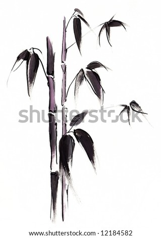 Abstract painted black japanese bamboo leaves illustration on white background. Art is created and painted by myself. - stock photo