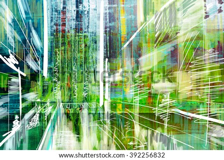 Abstract painted canvas. Oil paints on a palette. - stock photo