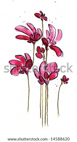 Abstract painted floral background in different shades of rose and red with romantically pink  flowers on white. Art is created and painted by photographer - stock photo