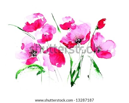 Abstract painted floral background in different shades of rose and violet with romantically  poppies meadow on white. Art is created and painted by photographer