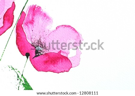 Abstract painted floral background in different shades of rose and violet with romantically pink poppies on white. Art is created and painted by photographer - stock photo
