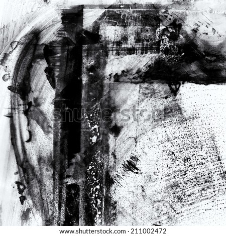 Abstract painted hand drawn artistic texture in black and white. - stock photo