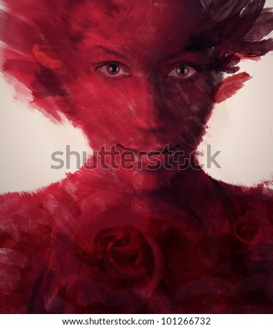 abstract painted red woman - stock photo