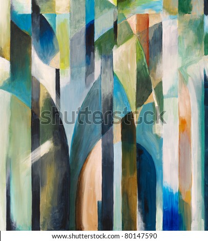 Abstract painting by Clive Watts - Blue Curve - stock photo