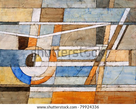 Abstract Painting by Clive Watts - Concentric - stock photo