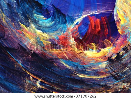 Abstract painting color texture. Bright artistic fiery futuristic background. Modern multicolor dynamic pattern. Fractal artwork for creative graphic design - stock photo