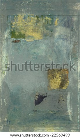 Abstract painting, grey with gold details.