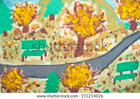 Abstract painting of kid - Autumn landscape - stock photo