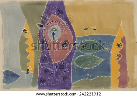 Abstract painting on silk. Original hand painted. Fish Eye - stock photo