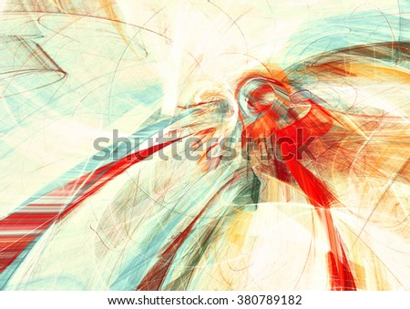 Abstract painting texture in summer color. Modern futuristic shiny pattern. Bright dynamic background. Fractal artwork for creative graphic design - stock photo