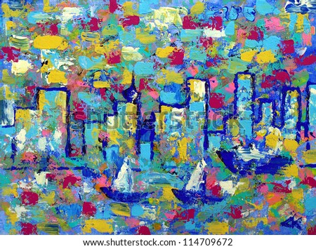 Abstract painting with Vancouver towers and boats. - stock photo