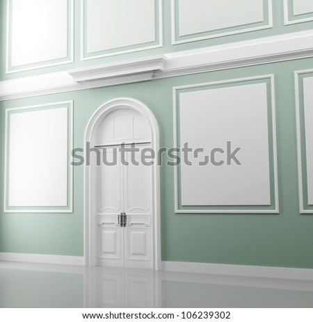 Abstract palace interior fragment with light green walls and white door