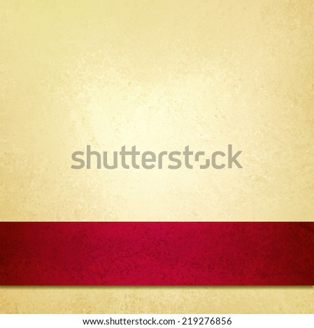 abstract pale gold background and red ribbon stripe, beautiful Christmas background, anniversary, valentines day, or fancy elegant pale yellow background paper, vintage background texture, luxurious  - stock photo