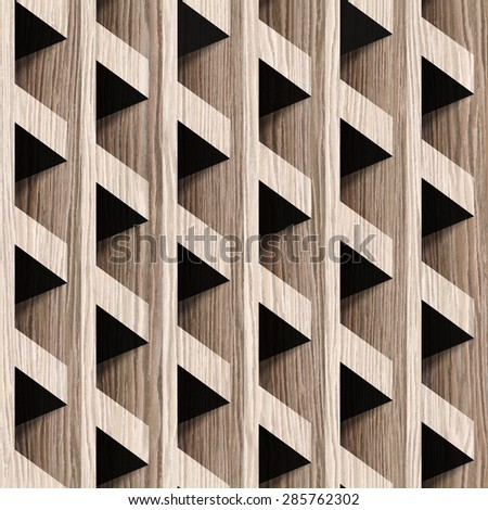 Abstract paneling blocks stacked for seamless background - Blasted Oak Groove wood texture - stock photo