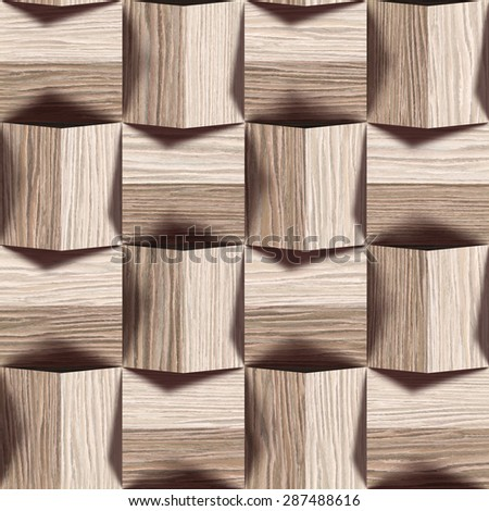 Abstract paneling pattern - seamless background - Blasted Oak Groove wood texture - stock photo