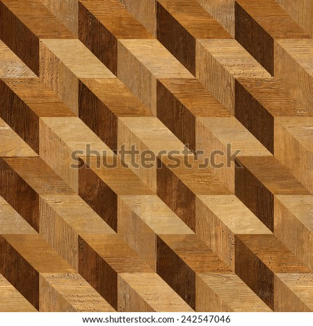 Abstract paneling pattern - seamless background - wooden surface - stock photo