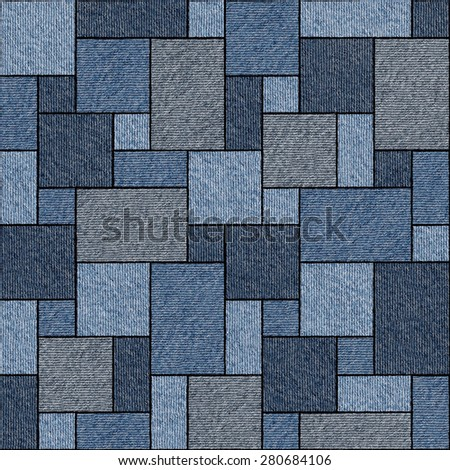 Abstract paneling pattern - seamless pattern - blue jeans cloth - stock photo