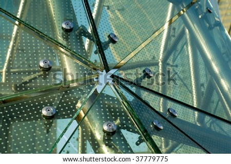 Abstract panels of green glass of architecture - stock photo