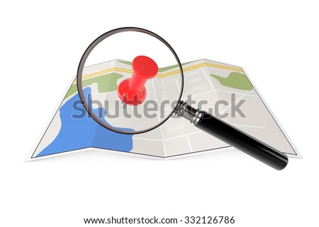 Abstract Paper Map with Magnifying Glass on a white background  - stock photo