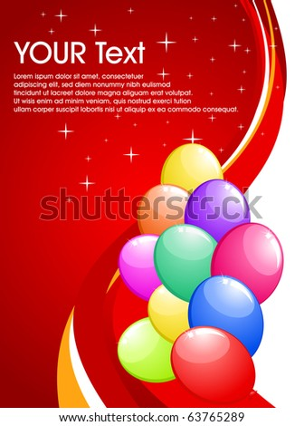 abstract party balloons with space for text - vector illustration. - stock photo
