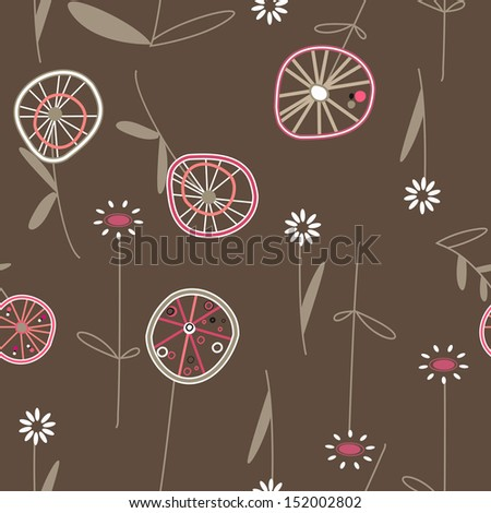 abstract pattern background autumn flowers circles - stock photo