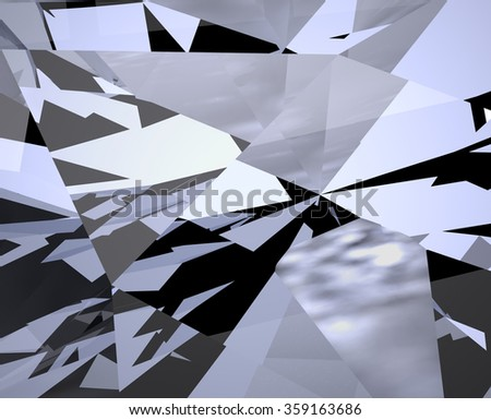 Abstract Pattern Background. Mosaic, Crystal, Diamond Structure. Broken Glass, Shattered Glass, Broken Mirror, Shattered Mirror. Digitally Generated Image. Geometric Shapes in Chaotic Motion  - stock photo