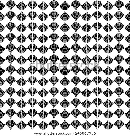 Abstract pattern based on a Traditional African Ornament. Monochrome. Seamless  pattern. Stylized papyrus leaves. Black and White background for decoration or backdrop.  - stock photo