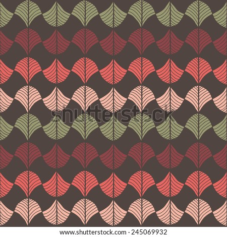 Abstract pattern based on a Traditional African Ornament. Warm pink, red and brown. Seamless pattern. Stylized papyrus leaves. Colorful background for decoration or backdrop.  - stock photo