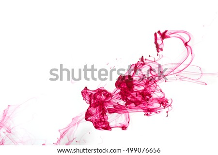Abstract pattern falling into the water drop of red ink