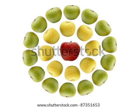 Abstract pattern from color apples isolated on a white background - stock photo