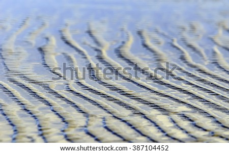 Abstract pattern of beach sand rippled by tidewaters along the Gulf of Mexico (shallow depth of field) - stock photo
