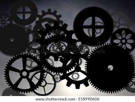 Abstract pattern of industrial cogwheel against blue surreal background.  - stock photo