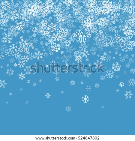 Abstract pattern of transparent falling snowflakes on blue background. Winter pattern for banner, greeting, Christmas and New Year card, invitation, postcard, paper packaging