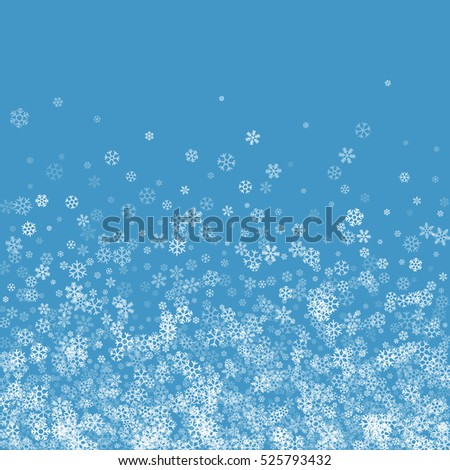 Abstract pattern of transparent falling snowflakes on blue background. Winter pattern for banner, greeting, Christmas and New Year card, invitation, postcard, paper packaging.